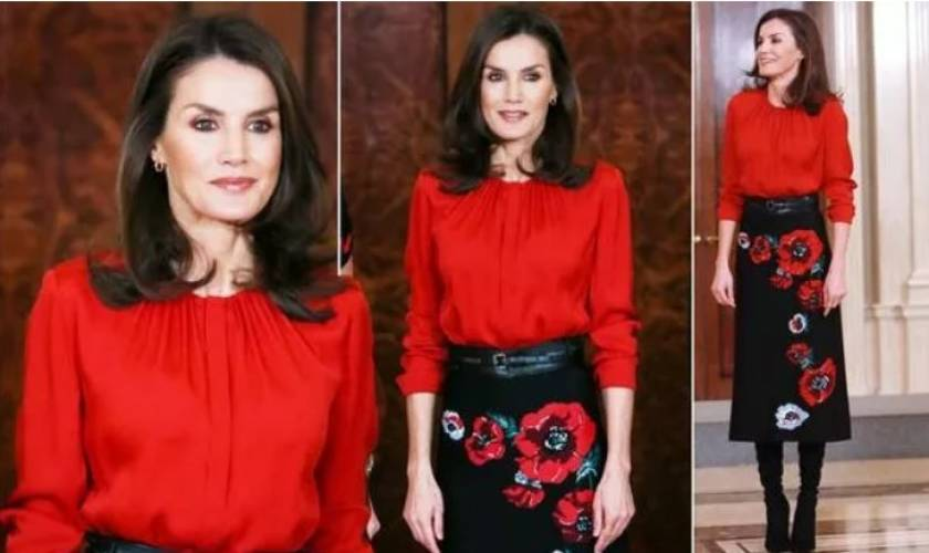 Queen Letizia commands attention in bold £600 red and black recycled outfit in Madrid
